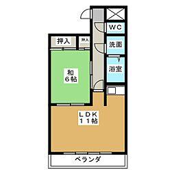 サンマンション鶴舞302号室[3階]の間取り