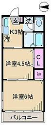 東京都北区上十条5丁目の賃貸アパートの間取り
