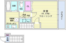 仙台市営南北線 長町南駅 徒歩19分の賃貸アパート 2階1Kの間取り