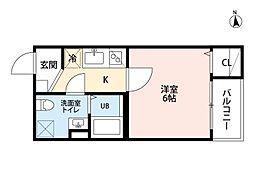 愛知県名古屋市中川区柳島町1丁目の賃貸アパートの間取り