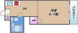 サンハイツ高井田 6階1DKの間取り
