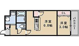 JR阪和線 長居駅 徒歩2分の賃貸マンション 2階1DKの間取り