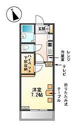 愛知県名古屋市中村区高道町2丁目の賃貸マンションの間取り