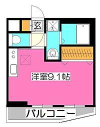 西武拝島線 東大和市駅 徒歩11分の賃貸マンション 1階ワンルームの間取り