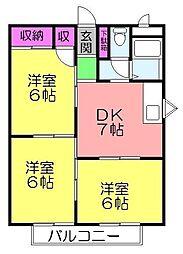 シティハイツ南澤[104号室]の間取り