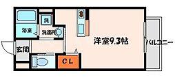 和弐番館 2階ワンルームの間取り