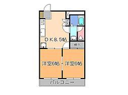 栃木県宇都宮市中今泉3の賃貸マンションの間取り