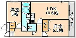 兵庫県伊丹市御願塚7丁目の賃貸マンションの間取り
