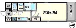 プレサンス難波クチュール 7階1Kの間取り