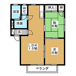 カーサ クォ−ドリフォリオ[2階]の間取り