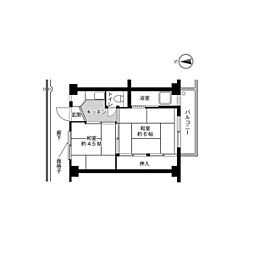 ビレッジハウス春日I6号棟5階Fの間取り画像