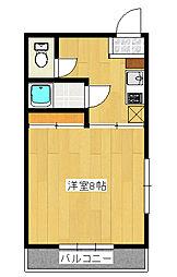 東峰町1Kアパート[1階]の間取り