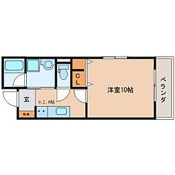 JR東海道本線 静岡駅 徒歩21分の賃貸マンション 3階1Kの間取り