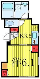 都営三田線 板橋区役所前駅 徒歩5分の賃貸アパート 2階1Kの間取り