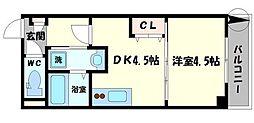 プレシャス中宮 5階1DKの間取り