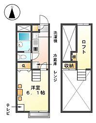愛知県稲沢市小沢3の賃貸アパートの間取り