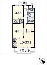 ドミールTF[2階]の間取り