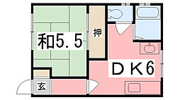 兵庫県姫路市八代緑ケ丘町の賃貸アパートの間取り