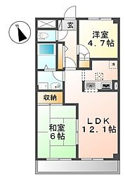 神奈川県川崎市麻生区王禅寺の賃貸マンションの間取り