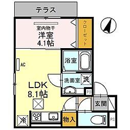 (仮称)D-room友田町 2階1LDKの間取り