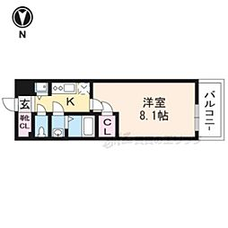 JR東海道・山陽本線 西大路駅 徒歩6分の賃貸マンション 5階1Kの間取り