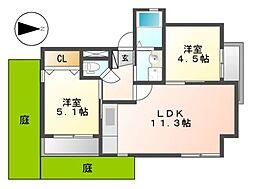 マンション汐見II(E棟)[1階]の間取り