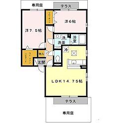 泉北高速鉄道 泉ヶ丘駅 徒歩29分の賃貸アパート 1階2LDKの間取り