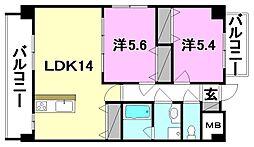 第6椿マンション[301 号室号室]の間取り