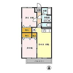 東京都世田谷区千歳台5丁目の賃貸アパートの間取り