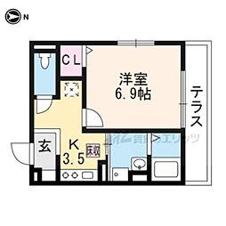 近鉄京都線 三山木駅 徒歩5分の賃貸アパート 3階1Kの間取り