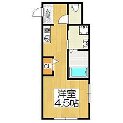 サンフェリシアン東福寺 3階ワンルームの間取り