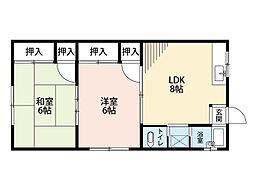 福岡県北九州市八幡西区春日台5丁目の賃貸アパートの間取り