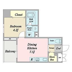 リーフス 8階1DKの間取り