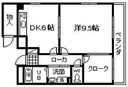 水間鉄道 水間観音駅 徒歩4分の賃貸アパート 2階1DKの間取り