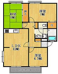 兵庫県宝塚市安倉中5丁目の賃貸アパートの間取り