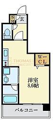 LANDIC K2620 12階ワンルームの間取り