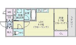 ディームス江坂駅前1 3階1LDKの間取り