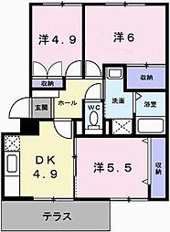 兵庫県姫路市田寺東2丁目の賃貸マンションの間取り