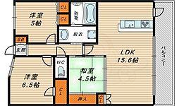 グランアッシュ野江 12階3LDKの間取り