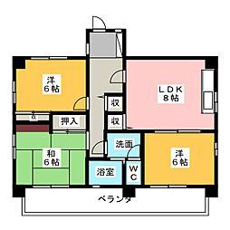 京命マンション[3階]の間取り