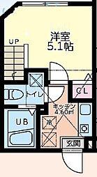 小田急小田原線 町田駅 徒歩8分の賃貸アパート 2階1Kの間取り