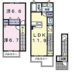 栃木県宇都宮市戸祭4丁目の賃貸アパートの間取り