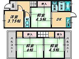 稲葉1丁目10-22貸家 1階4DKの間取り