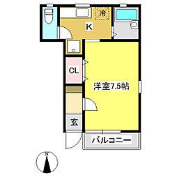 リブレア・ジェルセイト 1階1Kの間取り