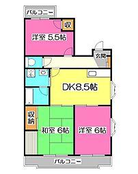 埼玉県所沢市小手指町1丁目の賃貸マンションの間取り