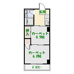 東和緑野ダイヤモンドマンション[517号室]の間取り
