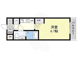アドバンス新大阪ラシュレ 11階1Kの間取り