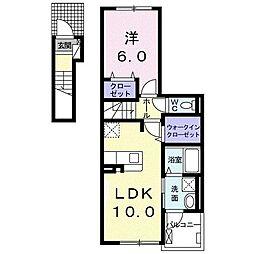 コートハウス蓼原II 2階1LDKの間取り