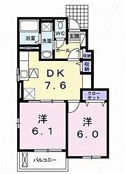 レオン ドゥ クニタチ 1階2DKの間取り