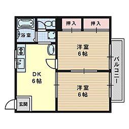 大阪府高槻市大塚町2丁目の賃貸アパートの間取り